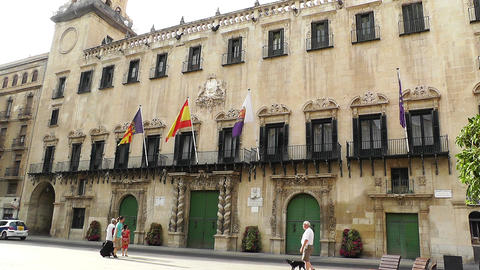 Alicante Spain 50 Placa Ajutament Footage