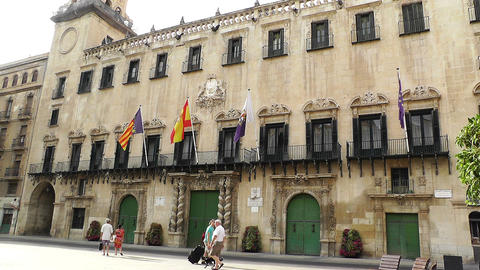Alicante Spain 50 Placa Ajutament Stock Video Footage