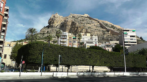 Alicante Spain 73 castle on hill Stock Video Footage