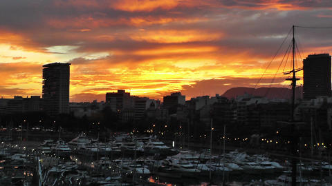 Alicante Spain 110 dramatic sunset Stock Video Footage