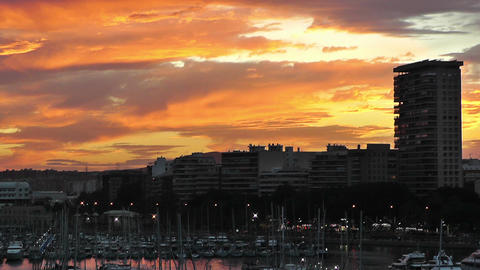 Alicante Spain 112 dramatic sunset Stock Video Footage