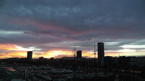 Alicante Spain 114 dramatic sunset Stock Video Footage