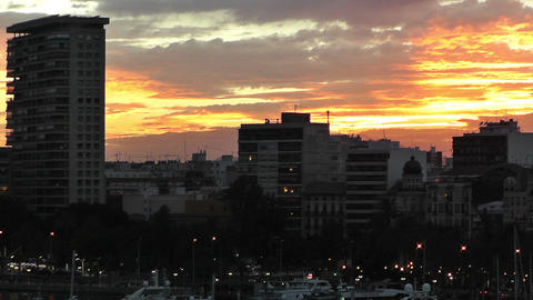 Alicante Spain 116 dramatic sunset Stock Video Footage