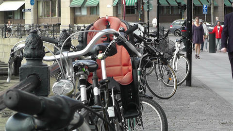Bikes in Stockholm Downtown 1 Stock Video Footage