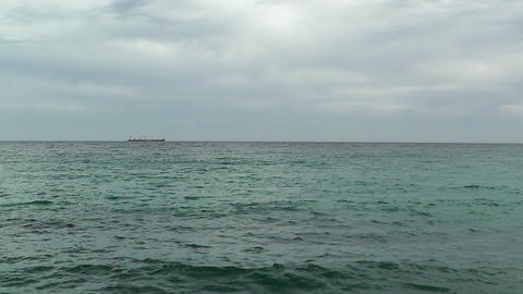 Calm Sea Horizon with Tanker 1 Stock Video Footage