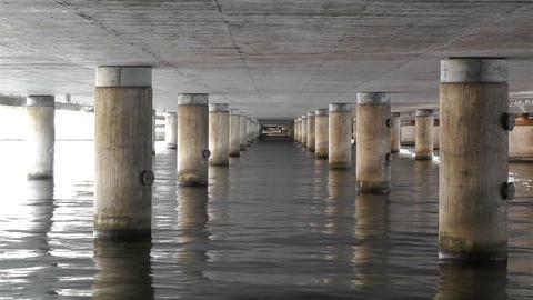 Concrete Bridge Pillars in Water 1 Stock Video Footage