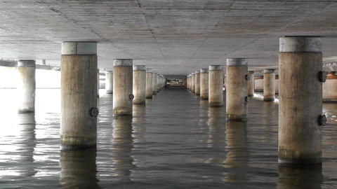 Concrete Bridge Pillars in Water 1 Footage
