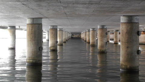 Concrete Bridge Pillars in Water 1 Stock Video Footage