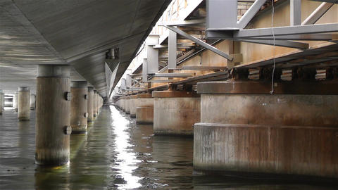 Concrete Bridge Pillars in Water 3 Stock Video Footage