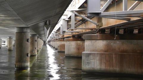 Concrete Bridge Pillars in Water 3 Stock Video Footage