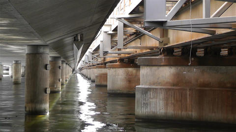 Concrete Bridge Pillars in Water 3 Footage
