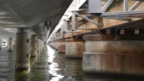 Concrete Bridge Pillars in Water 3 Footage