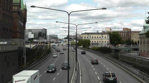 Gamla Stan Stockholm 2013 5 traffic Stock Video Footage