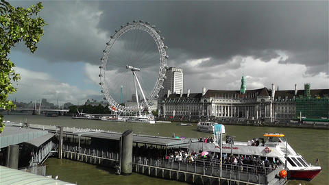 London Eye River Thames London 1 handheld Stock Video Footage