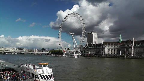 London Eye River Thames London 3 handheld Stock Video Footage