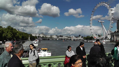 London Eye River Thames London 5 handheld Stock Video Footage