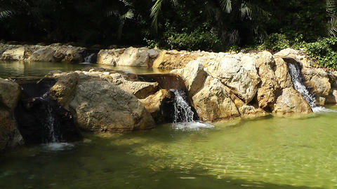 Mediterranean Palm Tree Garden 11 pond Stock Video Footage