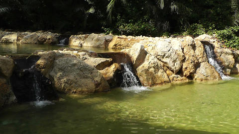 Mediterranean Palm Tree Garden 11 pond Footage