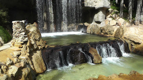 Mediterranean Palm Tree Garden 21 waterfall Stock Video Footage