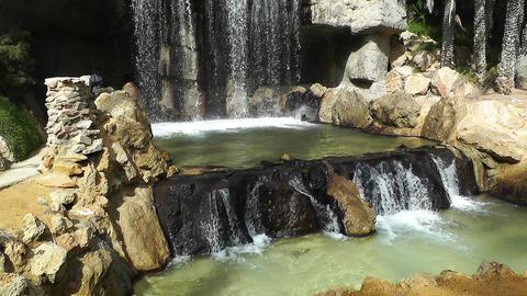 Mediterranean Palm Tree Garden 21 waterfall Stock Video Footage