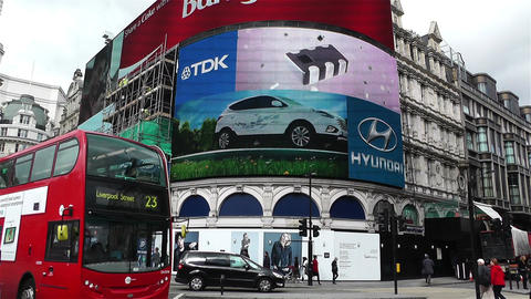 Piccadily Circus London 15 handheld Stock Video Footage