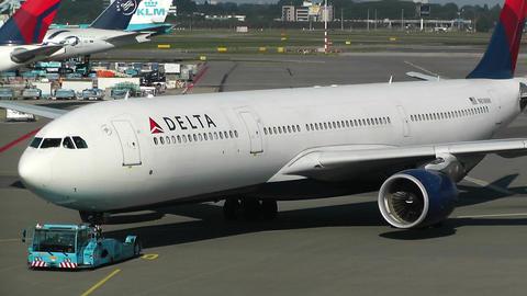 Schipol Airport Amsterdam 11 delta airlines Footage