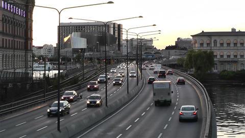 Stockholm Central Station 10 traffic sunset Stock Video Footage