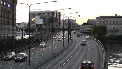 Stockholm Central Station 10 traffic sunset Stock Video Footage