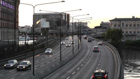 Stockholm Central Station 10 traffic sunset Footage