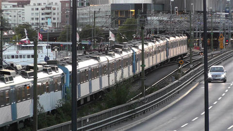 Stockholm Central Station 12 traffic train sunset Stock Video Footage