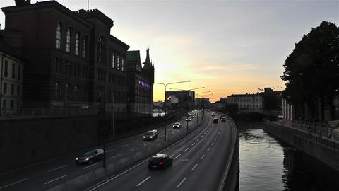 Stockholm Downtown 10 sunset Stock Video Footage