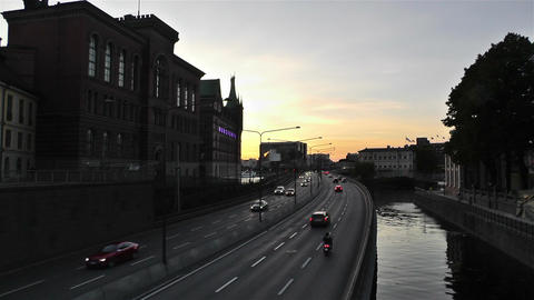 Stockholm Downtown 10 sunset Footage