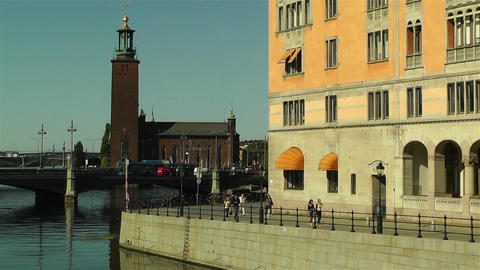 Stockholm Downtown 15 town hall Stock Video Footage