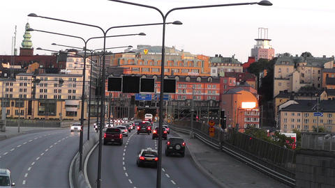 Stockholm Downtown 16 traffic sunset Stock Video Footage