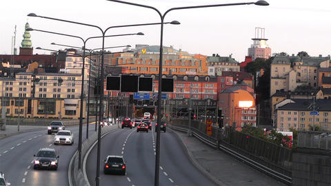 Stockholm Downtown 16 traffic sunset Footage