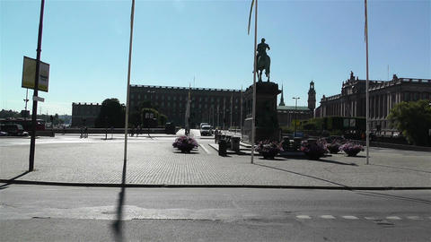 Stockholm Downtown 19 royal palace and parliament Stock Video Footage