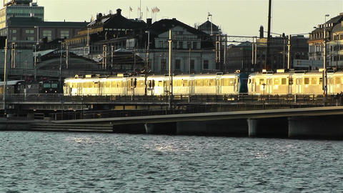 Stockholm Downtown Sunset 2 train Stock Video Footage