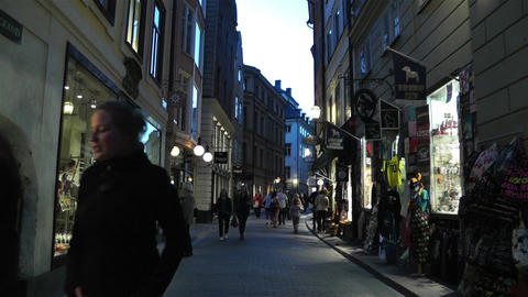 Stockholm Gamla Stan 25 evening Stock Video Footage