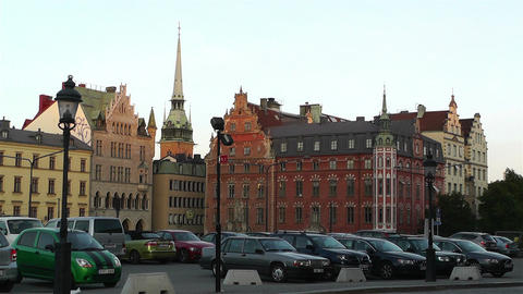 Stockholm Riddarholmen 15 sunset Stock Video Footage