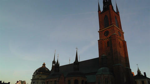 Stockholm Riddarholms Church 1 sunset tilt Footage