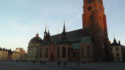 Stockholm Riddarholms Church 1 sunset tilt Stock Video Footage