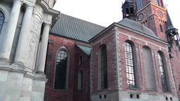 Stockholm Riddarholms Church 3 sunset tilt Stock Video Footage