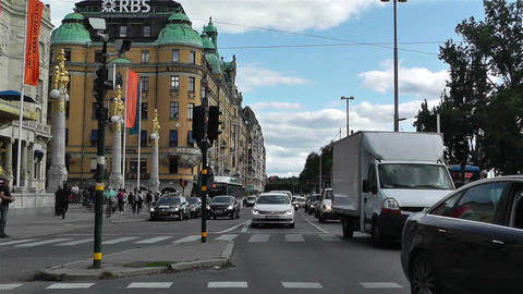 Stockholm Strandvagen 1 traffic Stock Video Footage