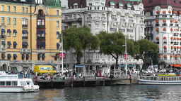 Stockholm Strandvagen 5 harbour Stock Video Footage