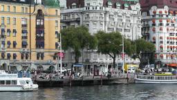 Stockholm Strandvagen 5 harbour Stock Video Footage