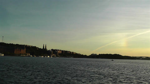 Stockholm Sunset 2 pan Stock Video Footage