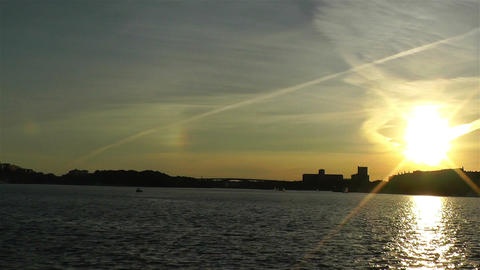 Stockholm Sunset 2 pan Footage