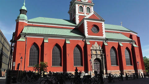 Stockholm Sweden Jacobs Church 2 pan Stock Video Footage