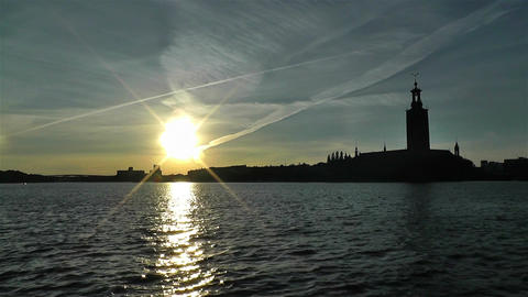 Stockholm Town Hall 1 sunset Stock Video Footage