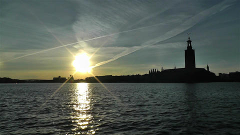 Stockholm Town Hall 1 sunset Footage